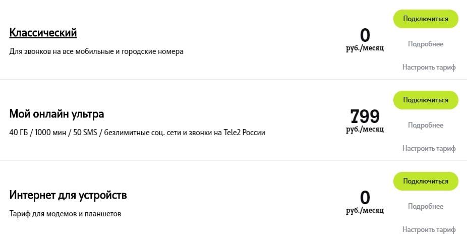 тарифы теле2 для Кировской области